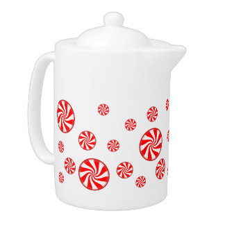 Peppermint Candy Holiday Tea Pot