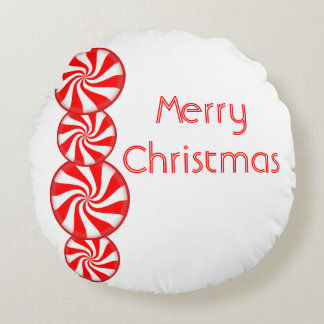 Peppermint Candy Merry Christmas Round Cushion