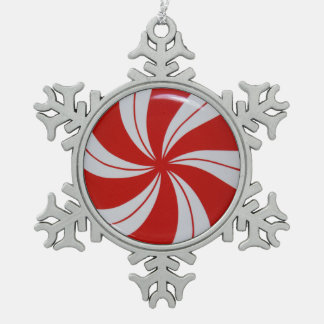 Peppermint Candy Pewter Snowflake Decoration