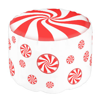 Peppermint Candy Pouf Holiday Foot Stool Round Pouffe