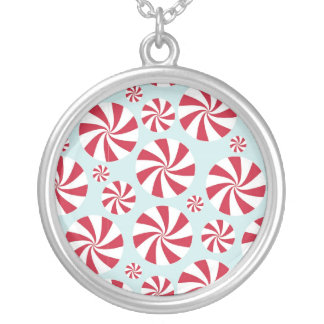 Peppermint Candy Red and Blue Holiday Round Pendant Necklace