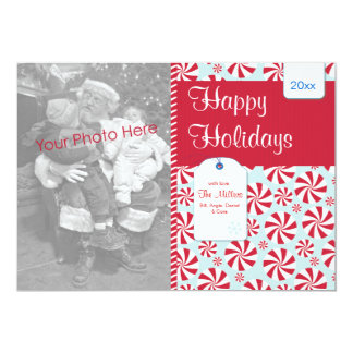 Peppermint Candy Red and Blue Holiday Photo Card