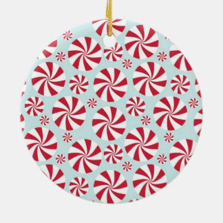 Peppermint Candy Red and Blue Holiday Round Ceramic Decoration
