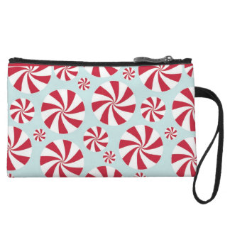 Peppermint Candy Red and Blue Holiday Wristlet