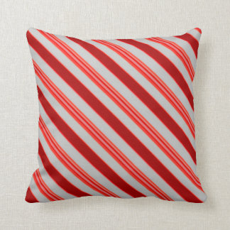 Peppermint Candy Red, White Stripes Pillows
