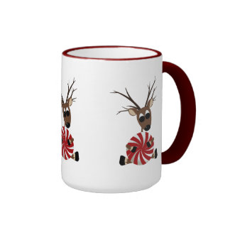 Peppermint Candy Reindeer Coffee Mugs