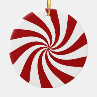 Peppermint Candy Round Ceramic Decoration