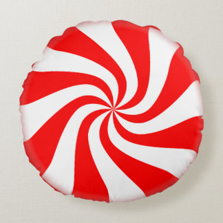 Peppermint Candy Round Holiday Pillow Round Cushion