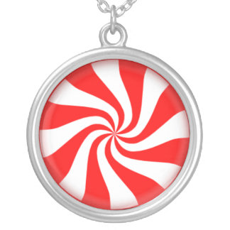 Peppermint candy round silver plated necklace
