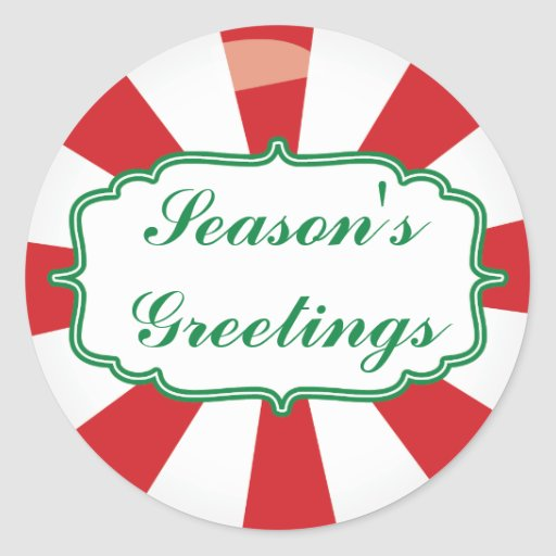 Peppermint Candy Seasons greetings Gift sticker