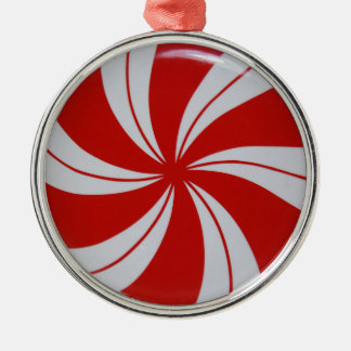 Peppermint Candy Silver-Colored Round Decoration