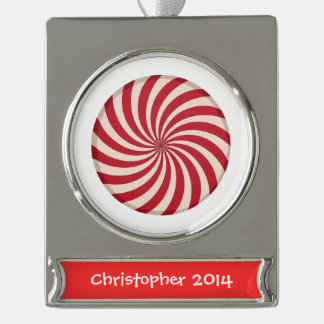 Peppermint Candy Silver Plated Banner Ornament