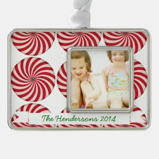 Peppermint Candy Silver Plated Framed Ornament