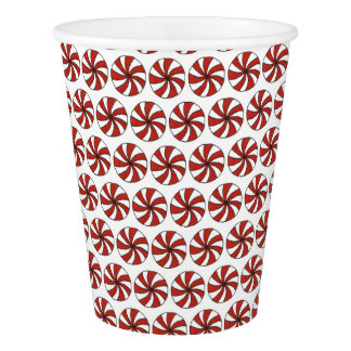Peppermint Candy Starlight Mint Holiday Red White Paper Cup