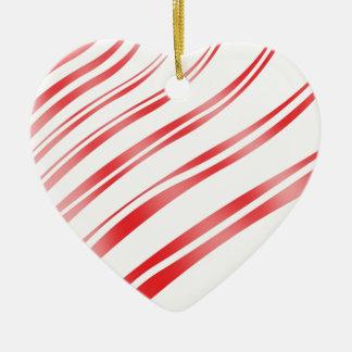 Peppermint Candy Stripe Ceramic Heart Decoration