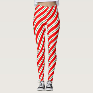 Peppermint Candy Stripe Holiday Leggings