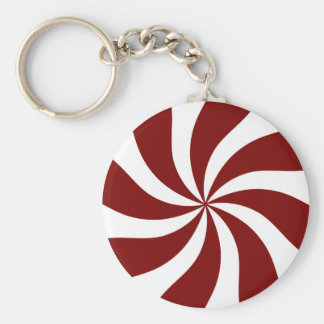 Peppermint Candy Swirl Red and White Basic Round Button Key Ring