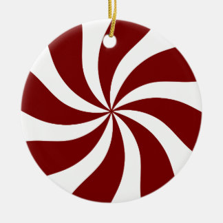 Peppermint Candy Swirl Red and White Round Ceramic Decoration