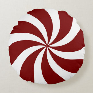 Peppermint Candy Swirl Red and White Round Cushion