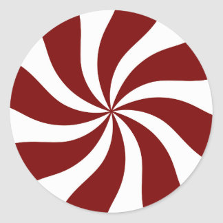 Peppermint Candy Swirl Red and White Round Sticker