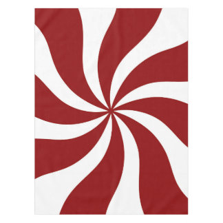 Peppermint Candy Swirl Red and White Tablecloth