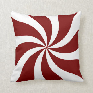 Peppermint Candy Swirl Red and White Throw Pillow