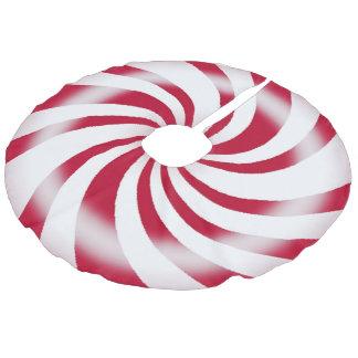 Peppermint Candy Tree Skirt Faux Linen Tree Skirt