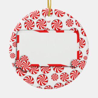 Peppermint Candy w/Tag Ceramic Ornament