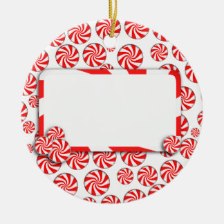 Peppermint Candy w/Tag Round Ceramic Decoration