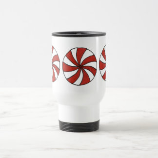 Peppermint Christmas Candy Holiday Mints Red White Travel Mug