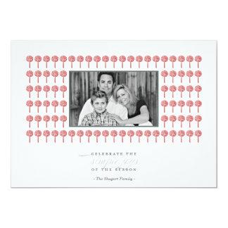 "Peppermint Geisha Pattern Holiday Photo Card 5"" X 7"" Invitation Card"