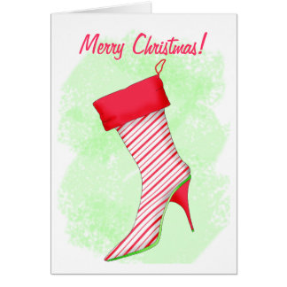 Peppermint High Heel Boot Stocking Merry Christmas Card