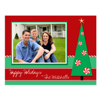 Peppermint Holiday Photo Card Postcard