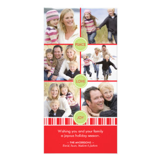 Peppermint Holiday Photo Collage Card Custom Photo Card