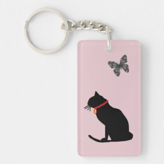 Peppermint Pink  Graphic Art Cat Key chain