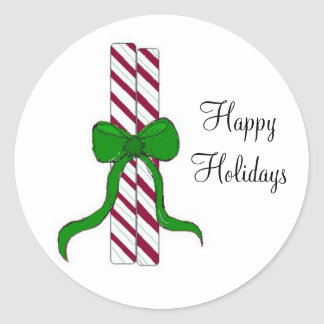 Peppermint Sticks Classic Round Sticker