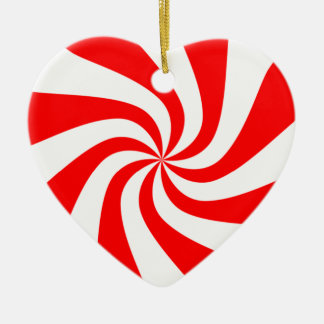 peppermint swirl candy ceramic heart decoration
