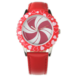 Peppermint Swirl Candy Wrist Watches