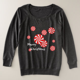 Peppermint Swirl Christmas Plus Size Sweatshirt