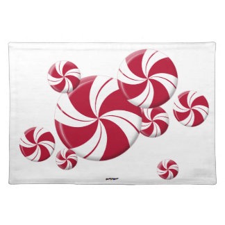 Peppermint Swirl Stripe Candy Placemats