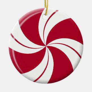 Peppermint Swirl Stripe & Spearmint Candy Round Ceramic Decoration
