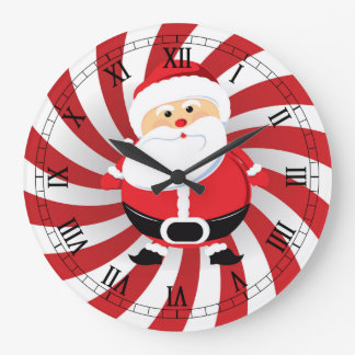 Peppermint Twist Christmas Santa Wall Clock
