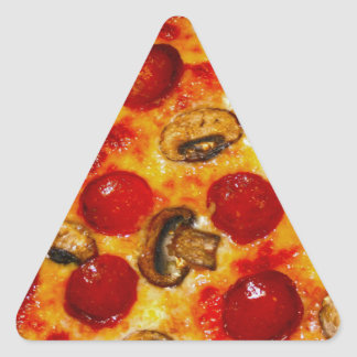 Pepperoni and Mushroom Pizza Triangle Sticker