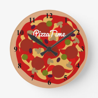 Pepperoni pizza novelty design custom wall clock