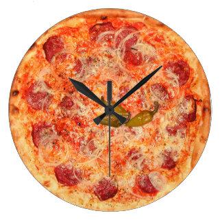 Pepperoni Pizza Time Large Clock