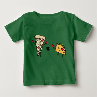 Pepperoni Pizza VS Taco: Mexican versus Italian Baby T-Shirt