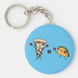 Pepperoni Pizza VS Taco: Mexican versus Italian Basic Round Button Key Ring