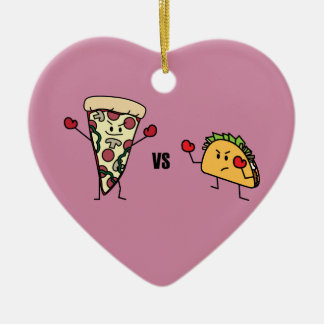 Pepperoni Pizza VS Taco: Mexican versus Italian Ceramic Ornament
