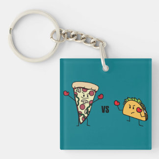 Pepperoni Pizza VS Taco: Mexican versus Italian Double-Sided Square Acrylic Key Ring