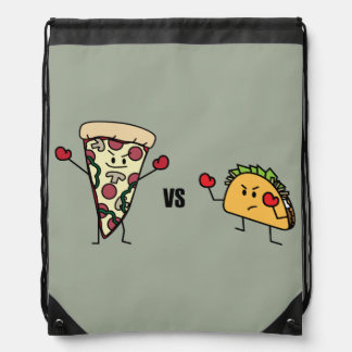 Pepperoni Pizza VS Taco: Mexican versus Italian Drawstring Bag